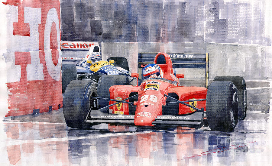 Watercolor Painting - Ferrari F1 Jean Alesi Phoenix Us Gp Arizona 1991 by Yuriy  Shevchuk