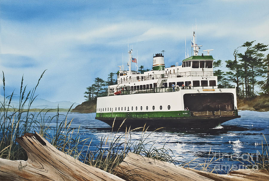 Washington State Ferry Print Painting - Ferry Illahee by James Williamson