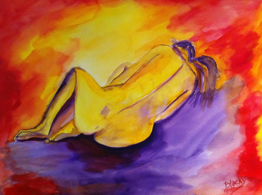 Woman Painting - Fetal Position by Donna Blackhall