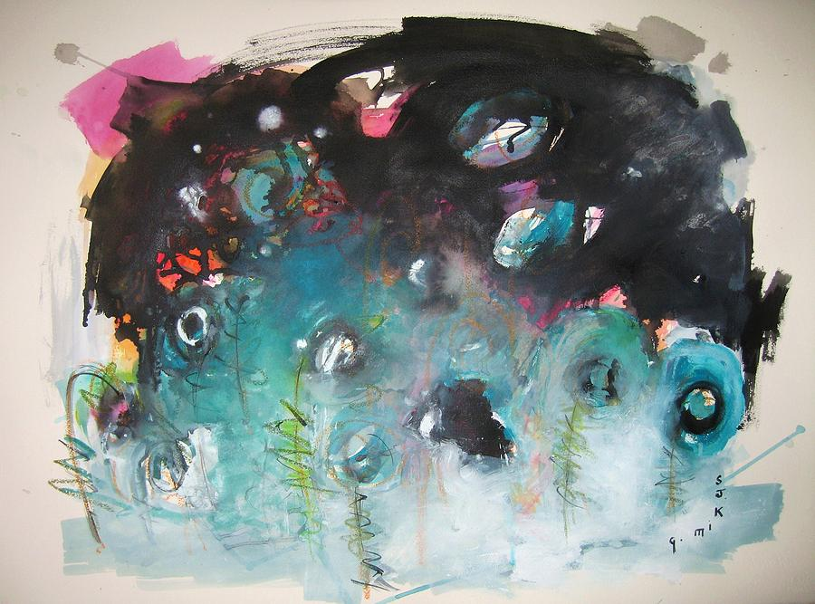 Fiddleheads original abstract colorful landscape painting for Original abstract paintings for sale