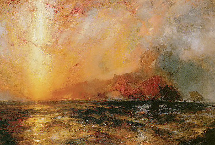 Thomas Moran Painting - Fiercely The Red Sun Descending Burned His Way Along The Heavens by Thomas Moran