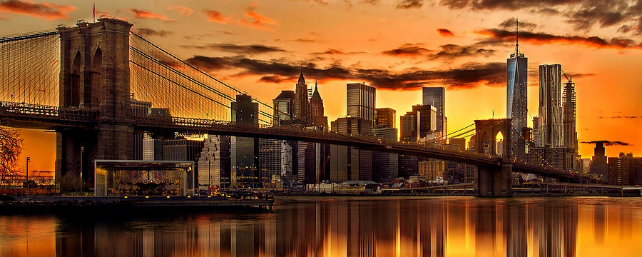 Fiery Sunset Over Manhattan Photograph