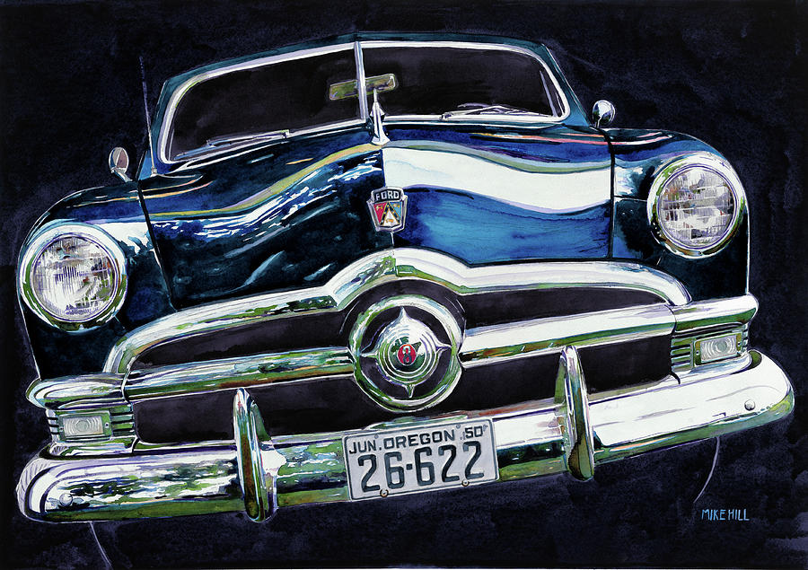 Ford Fifty 50 1950 Grille Lights Blue Convertible Station Wagon Oregon License Reflections Concours D' Elegance Antique Collector Car Cars Auto Automobile V8 Flathead Painting - Fifty Ford by Mike Hill