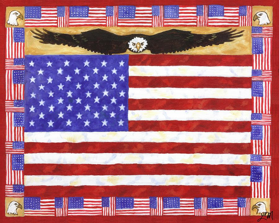 American Flag Painting - Fifty Stars by Linda Mears