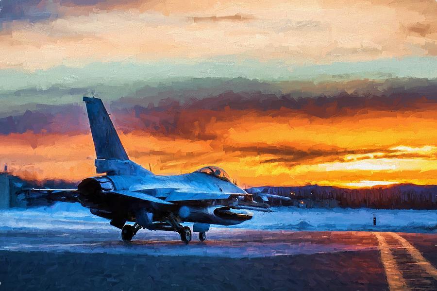 Kadena Decorative Pillow : Fighter Jet At Sunset Digital Art by Theo Westlake