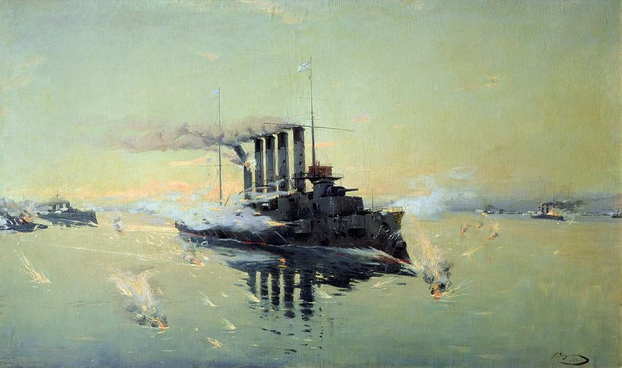 Cruiser Painting - Fighting On July In The Yellow Sea by Konstantin Veshchilov