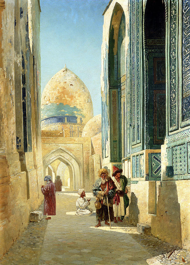 City; Moslem; Islamic Architecture; Inscribed Samarkand; Muslim; Orientalist; Arabic Script; Dome Painting - Figures In A Street Before A Mosque by Richard Karlovich Zommer