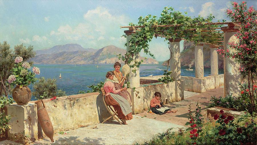 Italian Landscape; Female; Women; Child; Arbour; Azelia; Loggia; Sunshine; Spinning; Sea; Amalfi; Pergola; Treille Painting - Figures On A Terrace In Capri  by Robert Alott