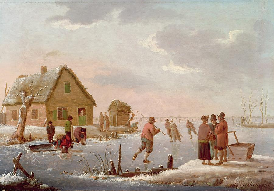 Figures Skating In A Winter Landscape Painting