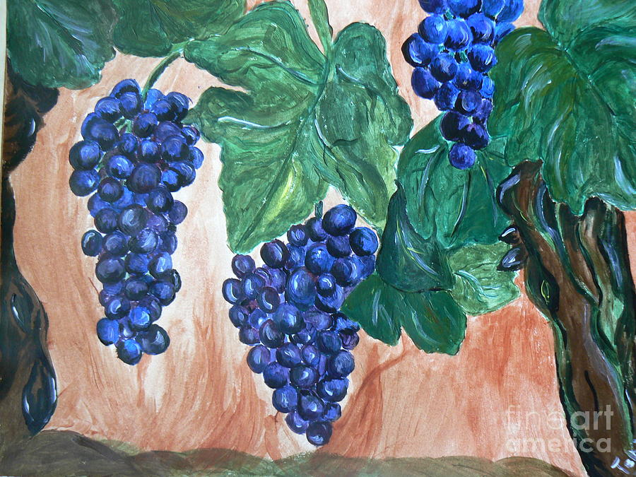 Grapes Painting - Finally Time For Wine by Tobi Cooper