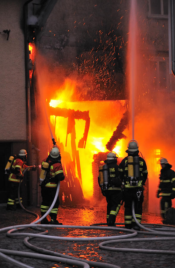 Fire Photograph - Fire - Burning House - Firefighters by Matthias Hauser