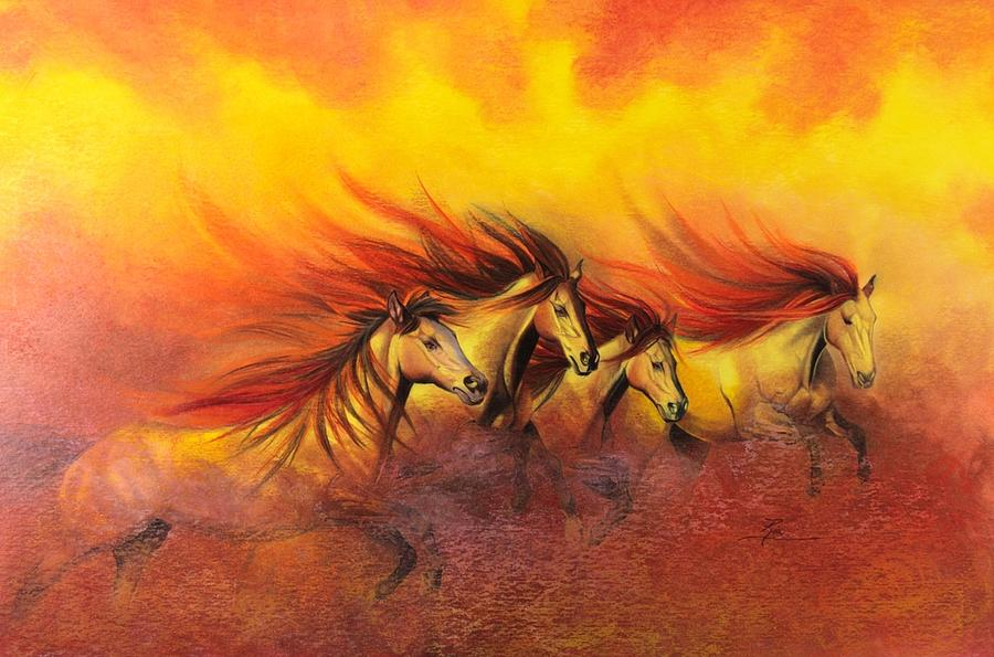 Horses Painting - Fire Horses by Maria Hathaway Spencer