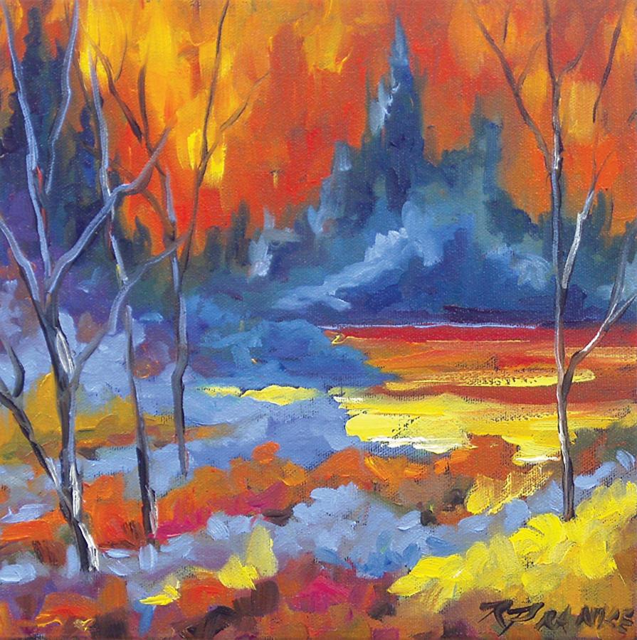 Art Painting - Fire Lake by Richard T Pranke