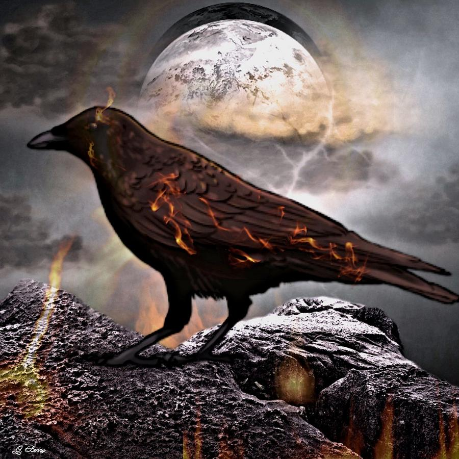 Fire Raven Photograph By G Berry