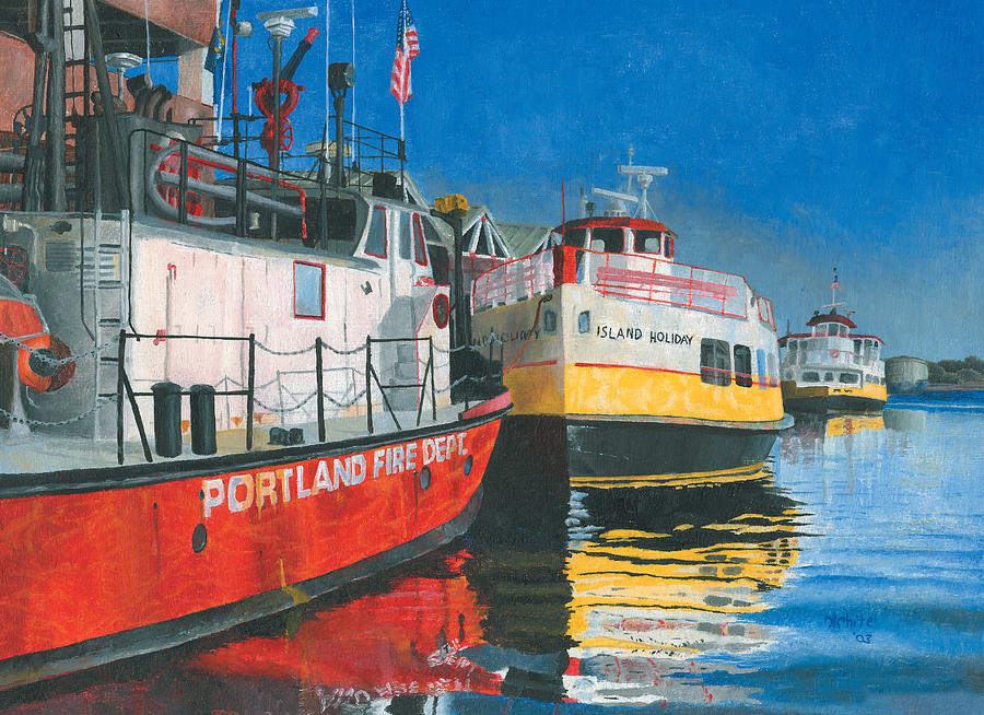 Fireboat Painting - Fireboat And Ferries by Dominic White