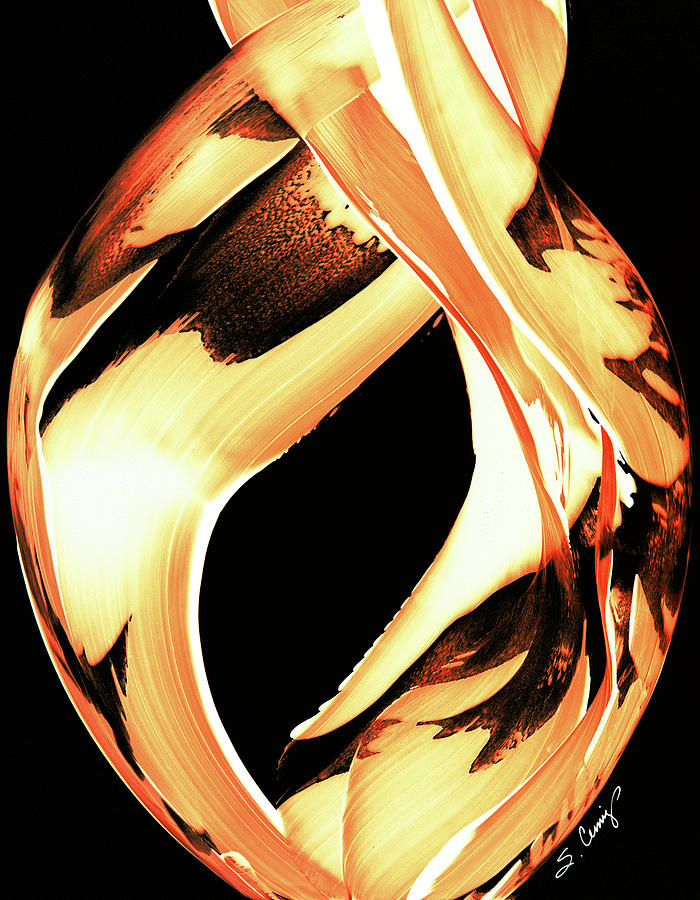 Fire Painting - Firewater 1 - Buy Orange Fire Art Prints by Sharon Cummings