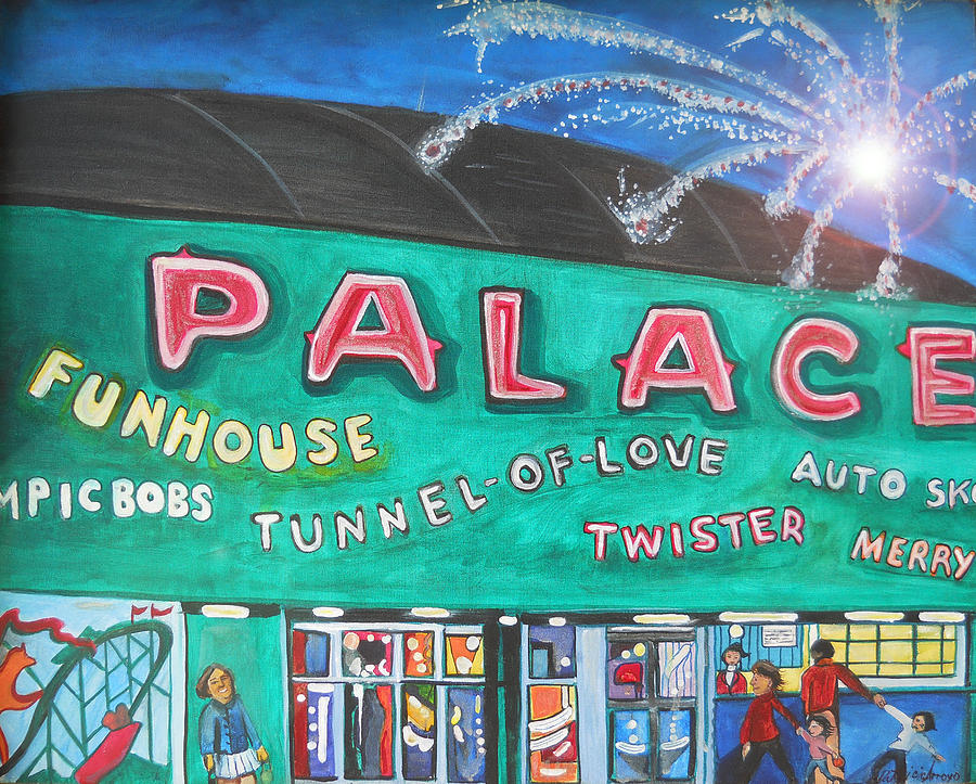 Asbury Park Art Painting - Fireworks At The Palace by Patricia Arroyo