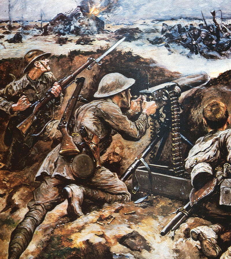 First Battle Of The Somme Painting By Stanley L Wood