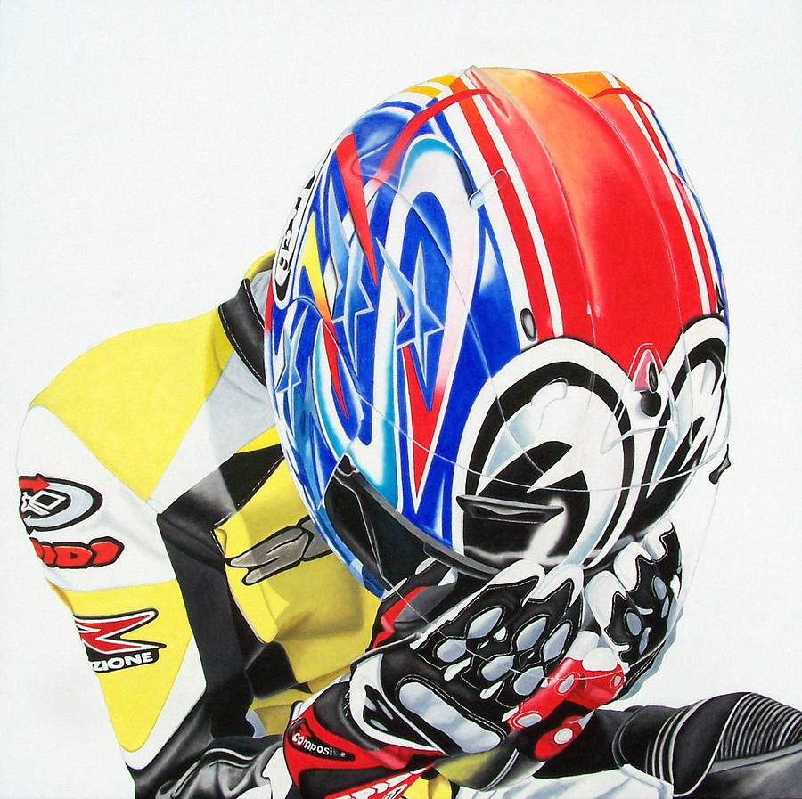 Motorcycle Rider Motosport Racing Self Portrait Spidi Leather Suit Arai Figurative Realism Dark  Painting - First Breath From Coma by Ian Hemingway