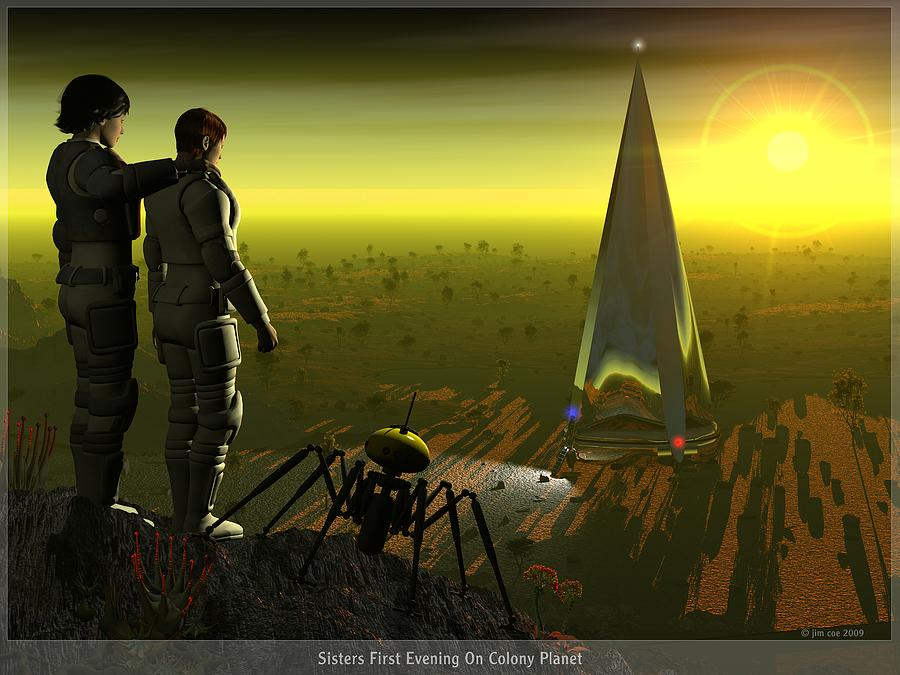 Jim Coe Digital Art - First Evening On Colony Planet by Jim Coe