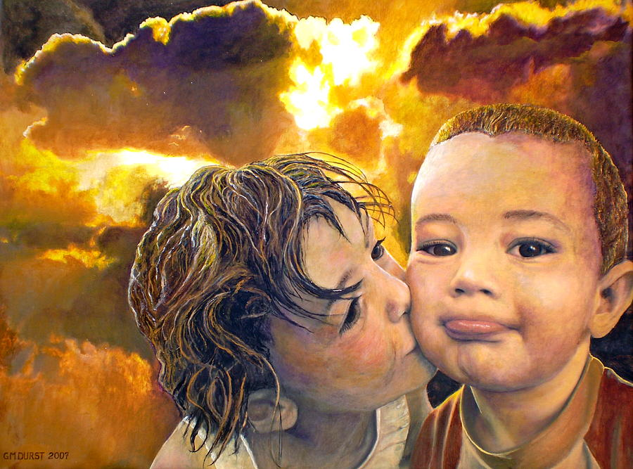 Children Painting - First Kiss by Michael Durst