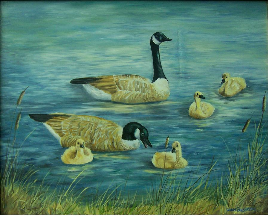 A Pair Of Mallards Painting - First Lesson by Wanda Dansereau