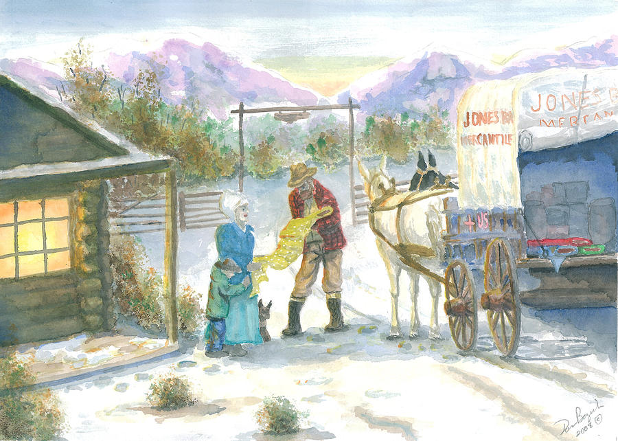 Pioneer Shopping Painting - First Snow - Last Call by Dan Bozich
