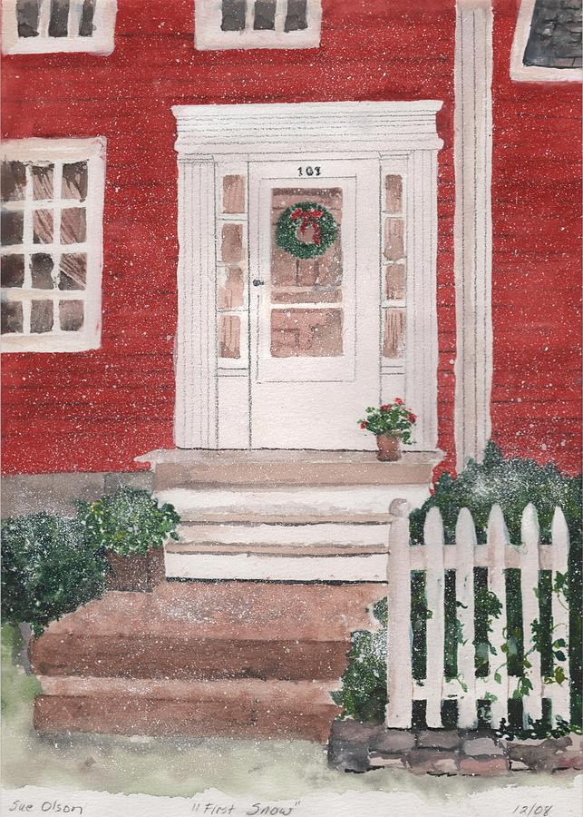 Home Drawing Painting - First Snow by Sue Olson
