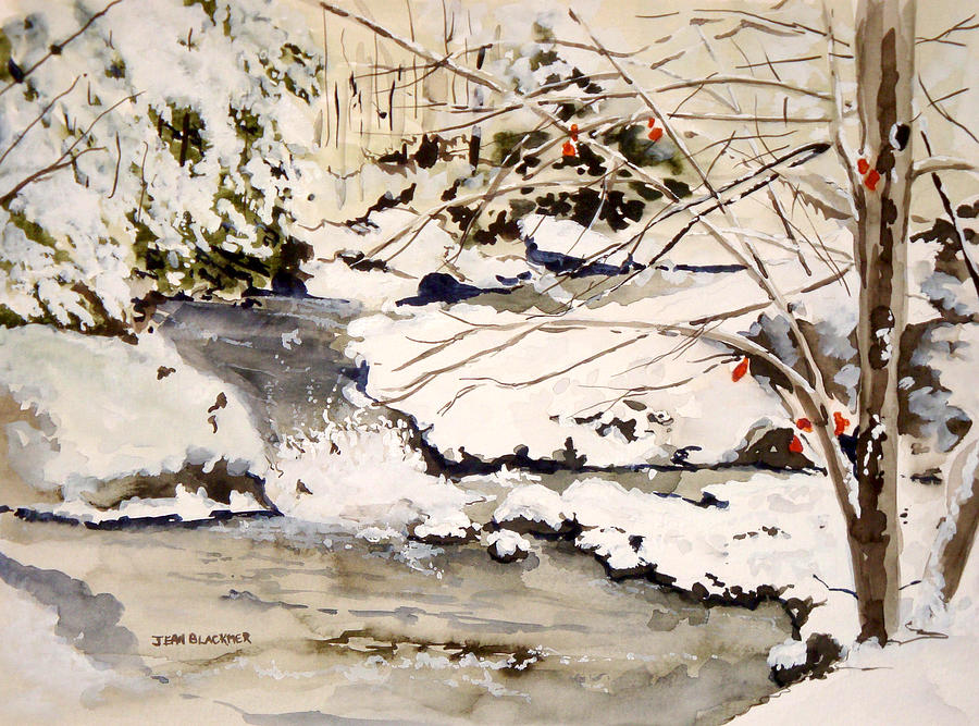 Winter Scene Painting - First Snowfall by Jean Blackmer