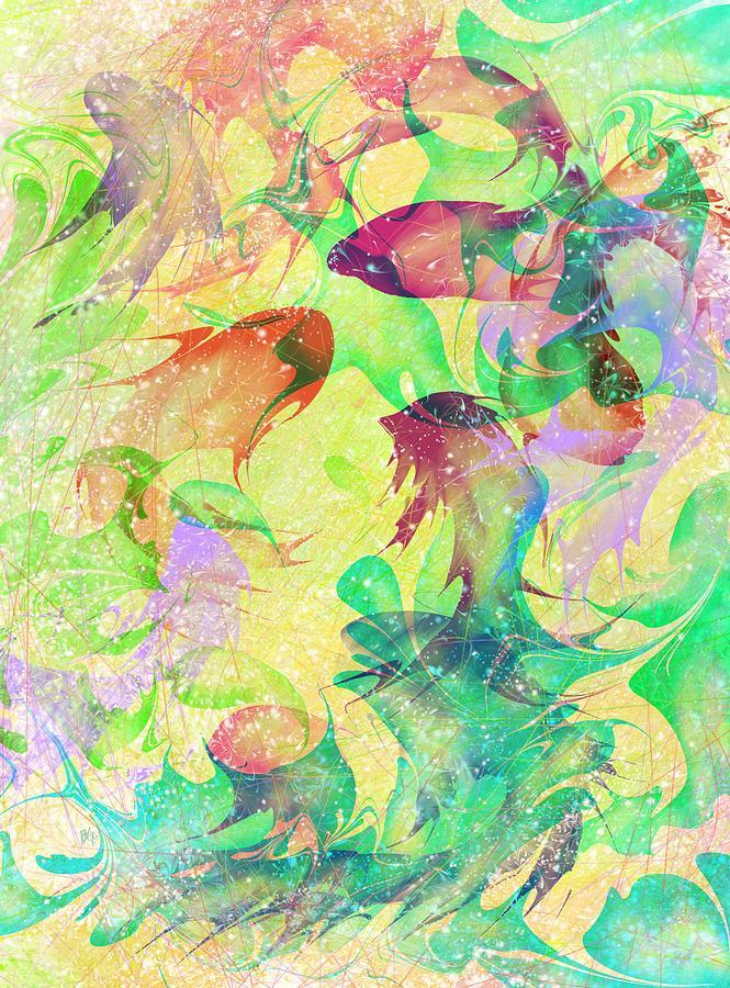 Abstract Digital Art - Fish Dreams by Rachel Christine Nowicki