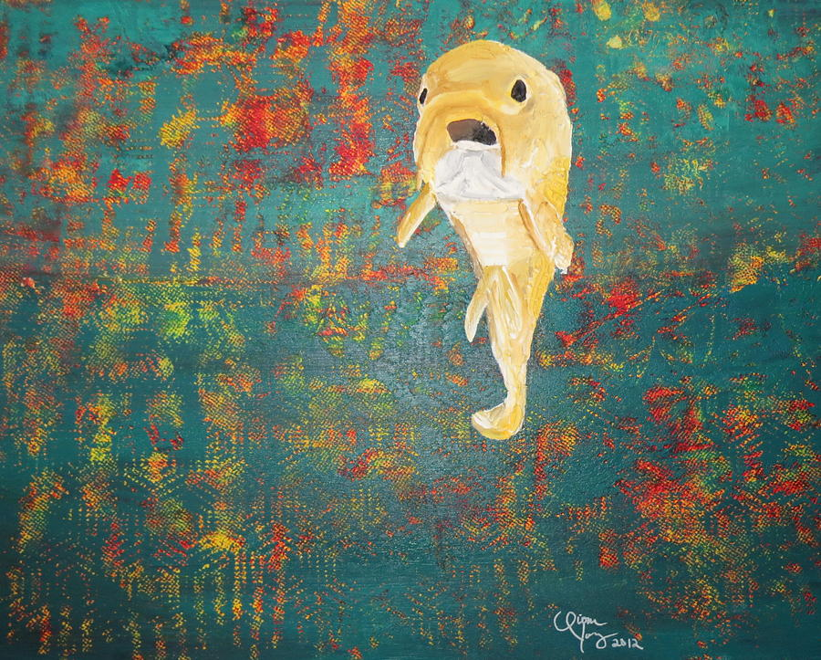 Fish out of water painting by qiona young for Fish out of water watercolor