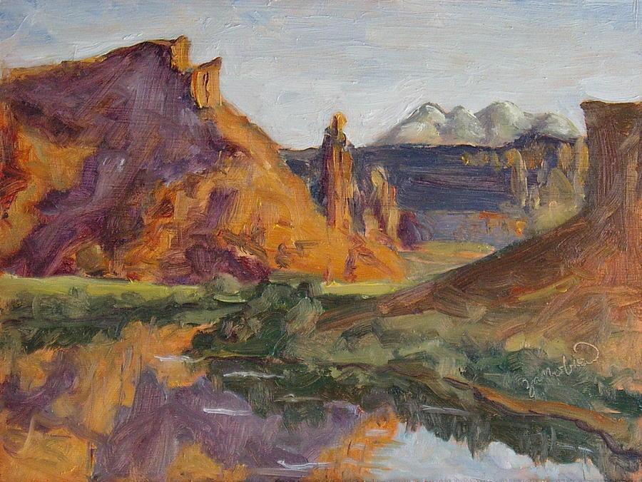 Utah Painting - Fisher Tower Castle Valley Moab Utah by Zanobia Shalks