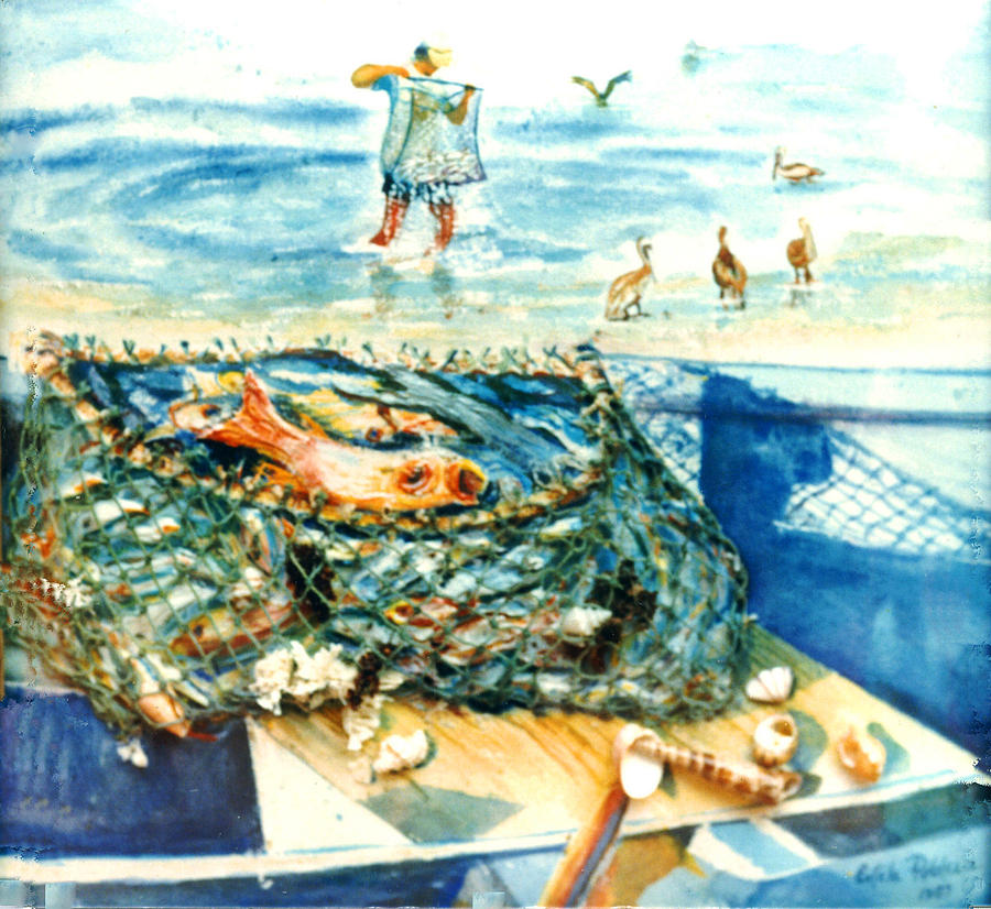 Watercolor Paintings Painting - Fisherman And His Assistants by Estela Robles