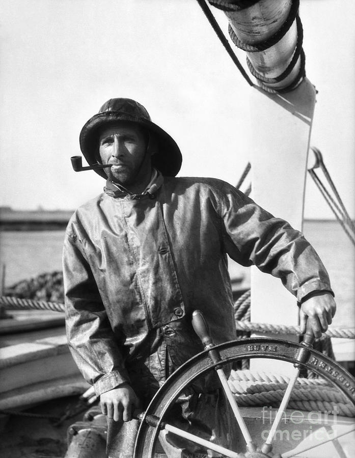 Fisherman At Wheel C 1920 30s Photograph By H Armstrong