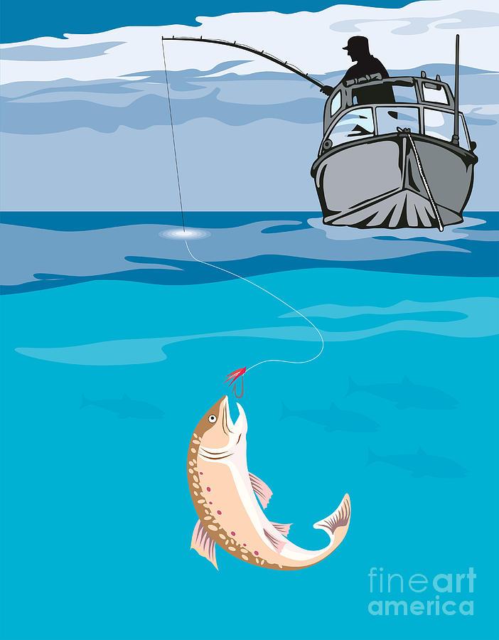 Fisherman Fishing Trout Fish Retro Digital Art