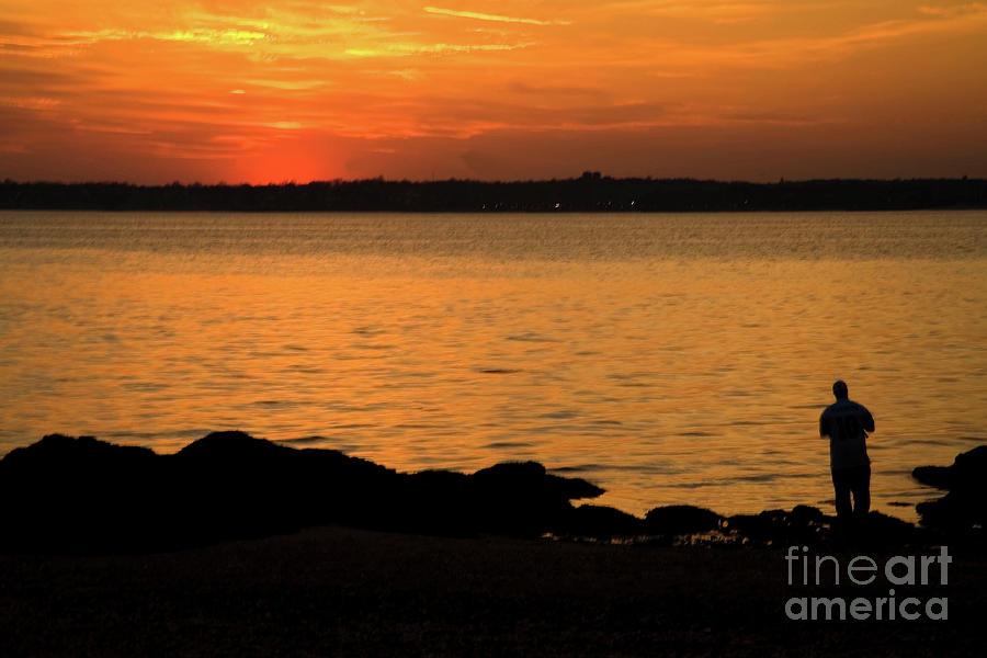 Fishing Photograph - Fishing At Sunset by Karol Livote