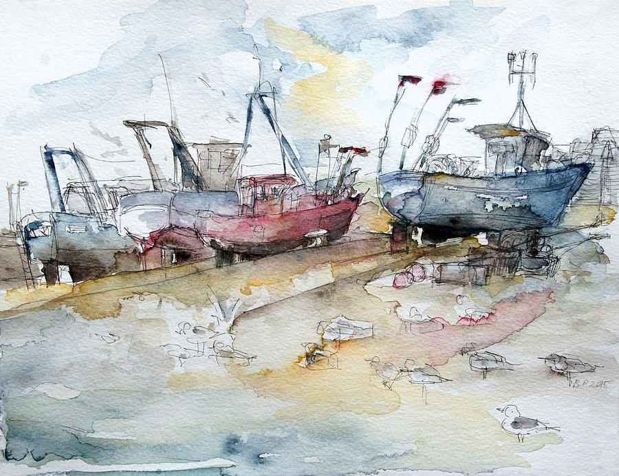Summer Painting - Fishing Boats At Hastings Beach by Barbara Pommerenke