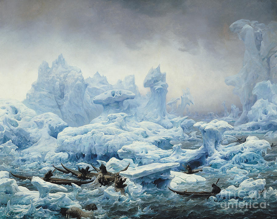 Fishing Painting - Fishing For Walrus In The Arctic Ocean by Francois Auguste Biard