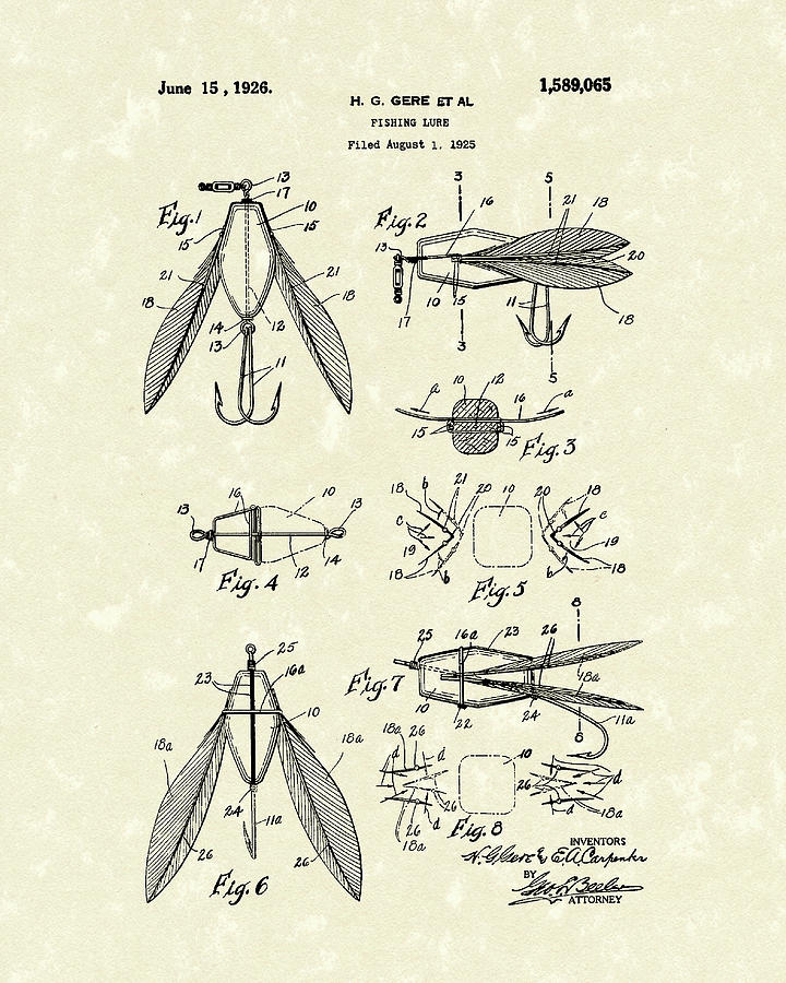 Fishing Lure Drawing - Fishing Lure 1926 Patent Art  by Prior Art Design