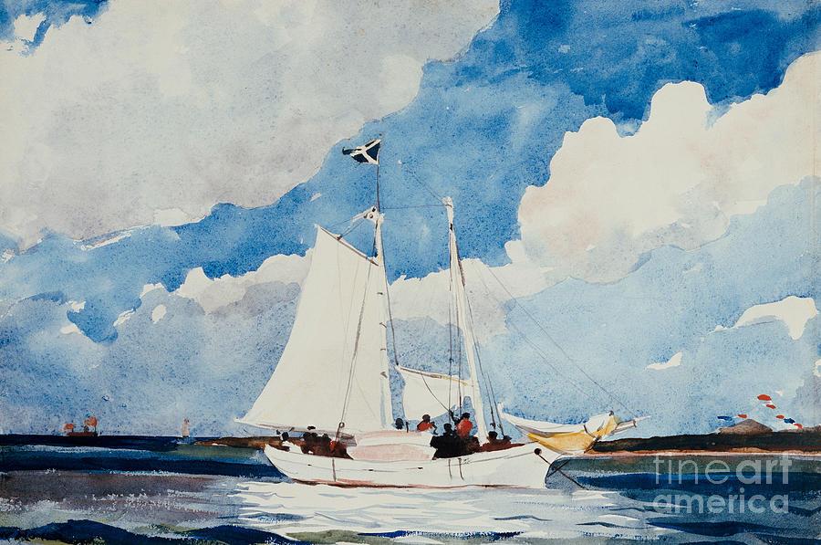 Boat Painting - Fishing Schooner In Nassau by Winslow Homer