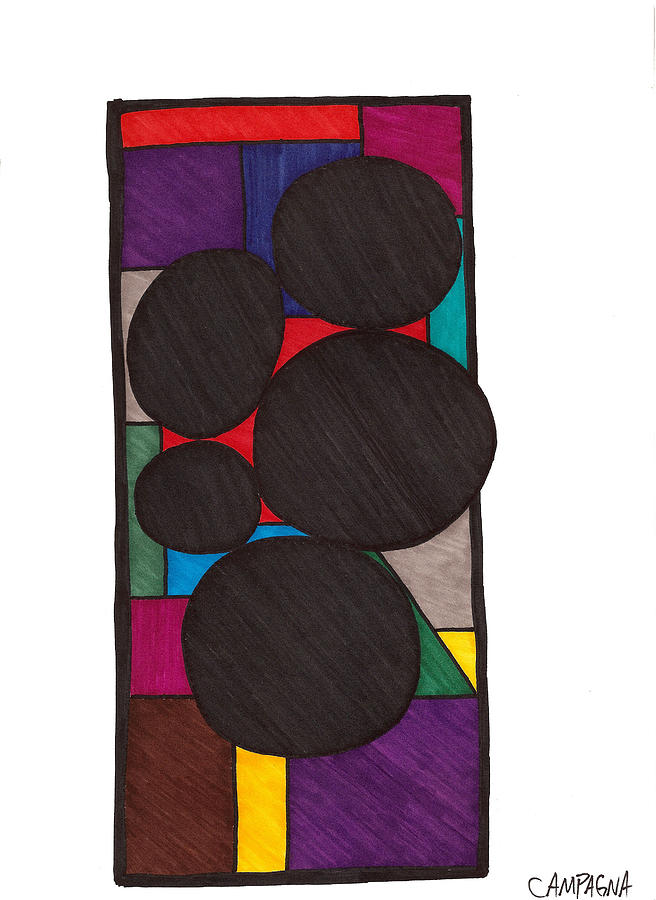 Marker Drawing - Five Dark Discs by Teddy Campagna
