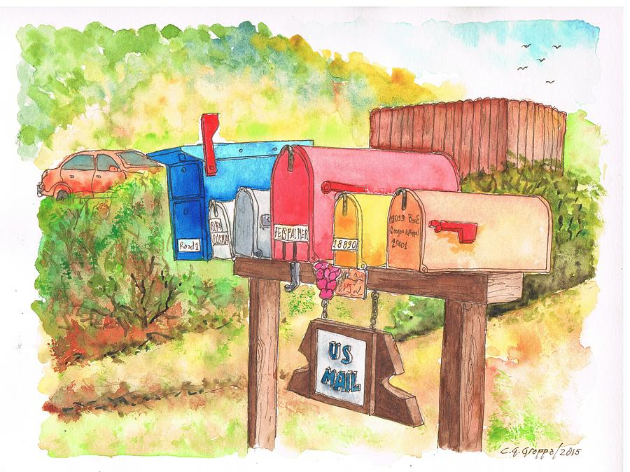 Five Mail Boxes In Route 1, San Simeon, California Painting