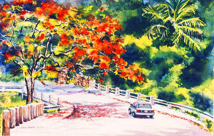 Watercolor Painting - Flamboyant At Crashboat Beach by Estela Robles