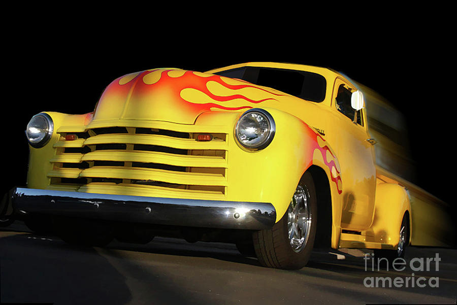 Trucks Photograph - Flaming Chevy by Tom Griffithe