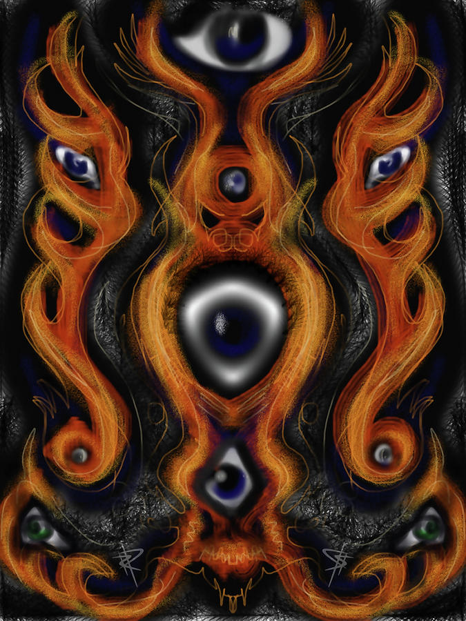 Strange Digital Art - Flaming Eyes by Russell Pierce