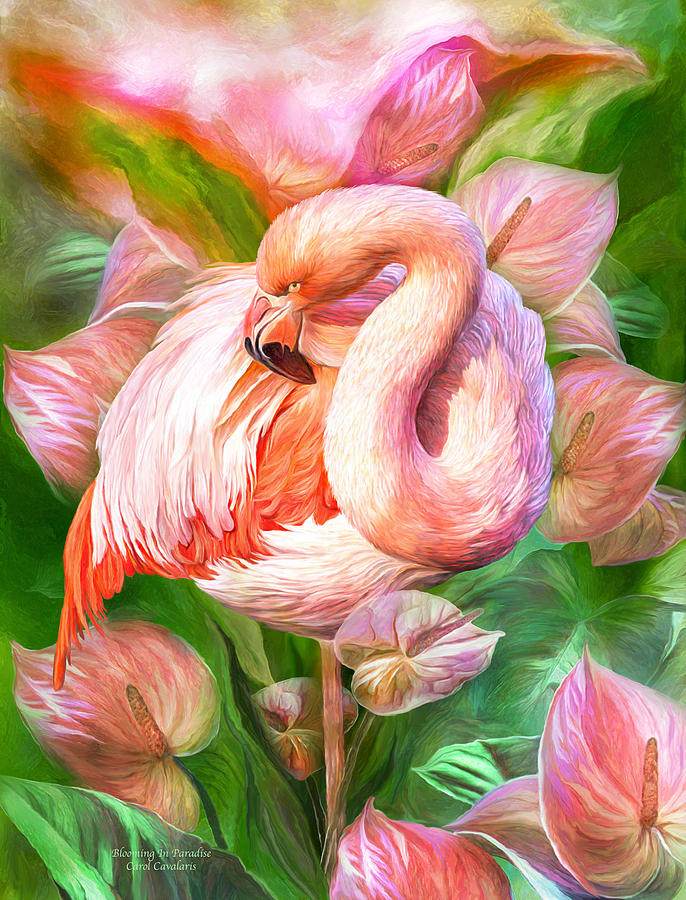 Flamingo Mixed Media - Flamingo And Flowers - Blooming In Paradise by ...