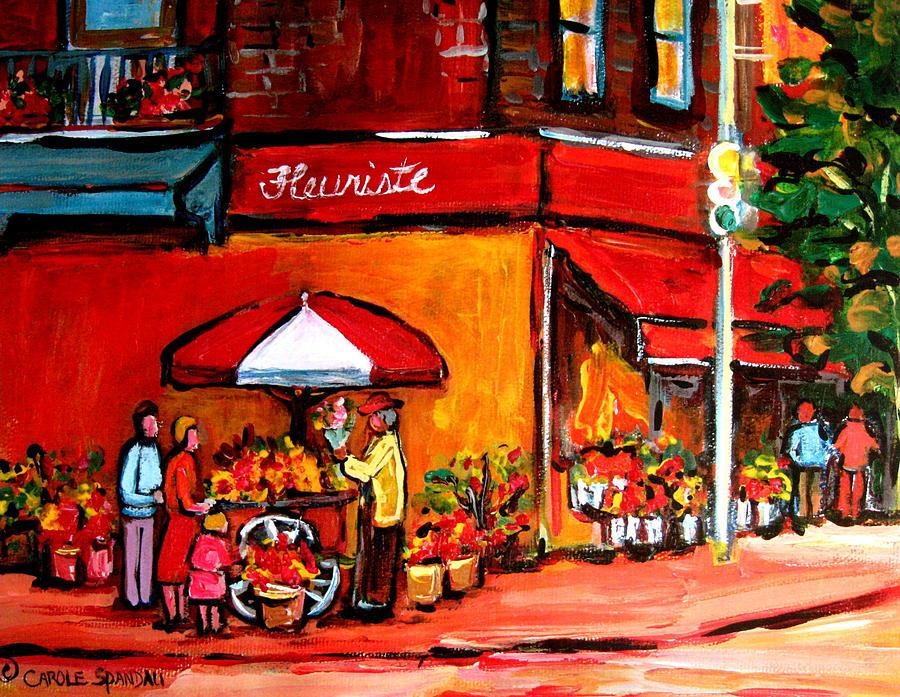 Fleuriste Bernard Florist Montreal Painting - Fleuriste Bernard Florist Montreal by Carole Spandau