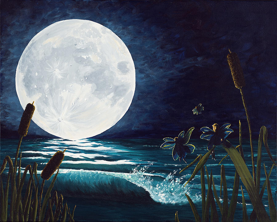 Full Moon Painting - Flight Of The Moon Faries by Deborah Ellingwood