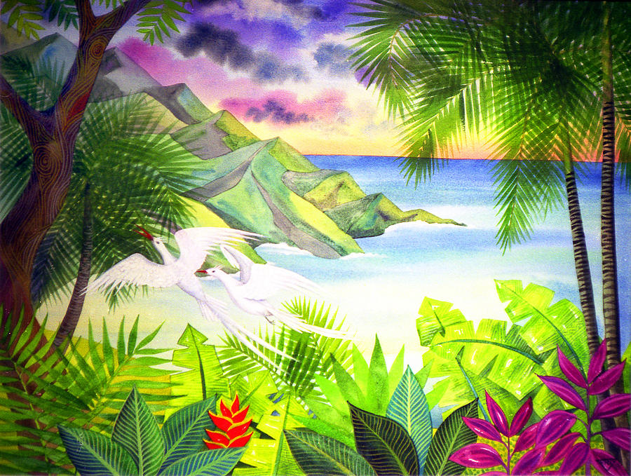 Birds Jungle Sunset Sea Tropical Forest  Painting - Flight Of The Red Billed Tropic Birds by Jennifer Baird