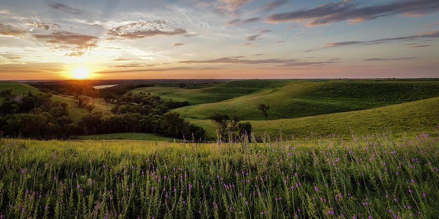 Flint Hills Sunset Pano Photograph